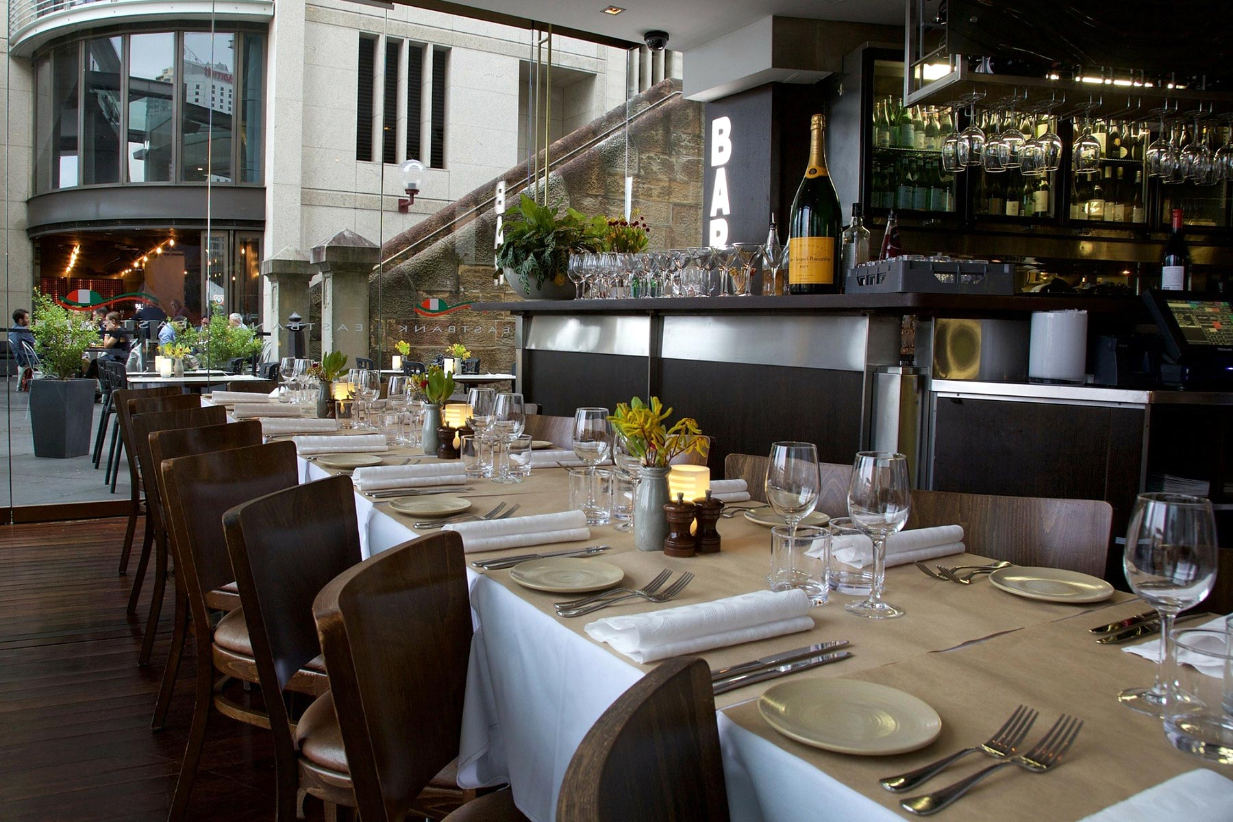 Eastbank Cafe Restaurant – interior: dining tables and bar